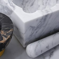 J&J Unique Design Mortar & Pestels in Pure White Carrara Marble